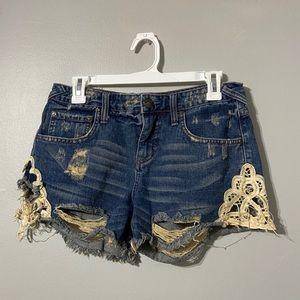 Free People Distressed Denim Crochet Jean Shorts